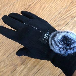 Black fur rosette gloves